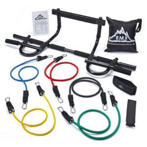 Resistance Band Set with Heavy Duty Chin Up Bar Combo