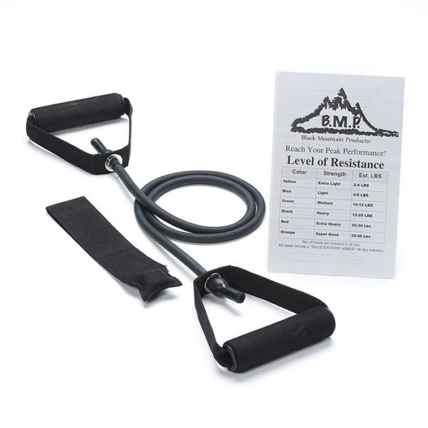 Single Black Resistance Band With Door Anchor 15 20lbs