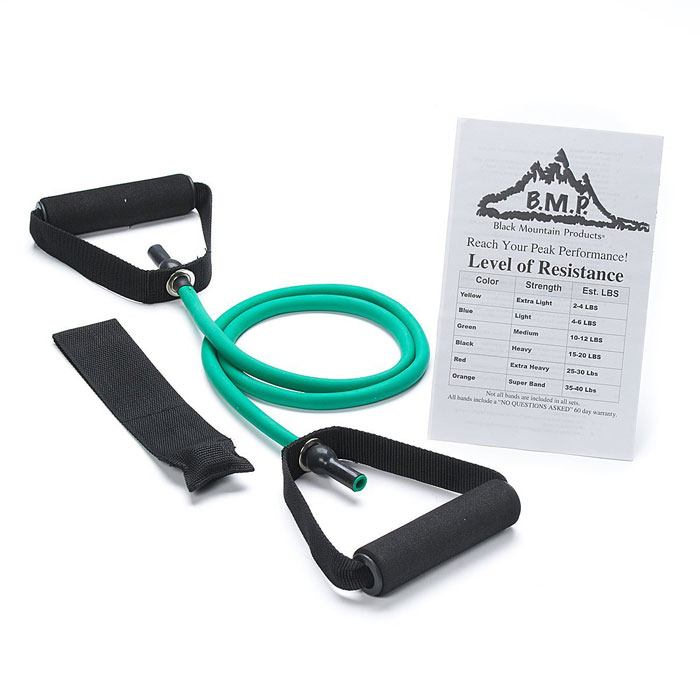 Exercise Bands Green: Single Green Resistance Band With Door Anchor