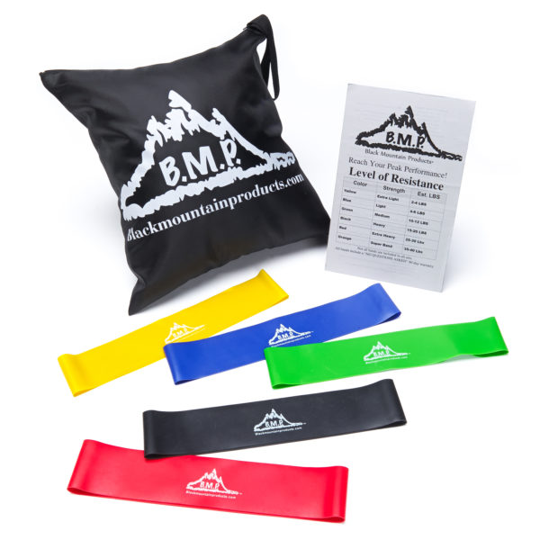 Black Mountain Products Loop Resistance Exercise Bands Set of 5 with Carrying Case