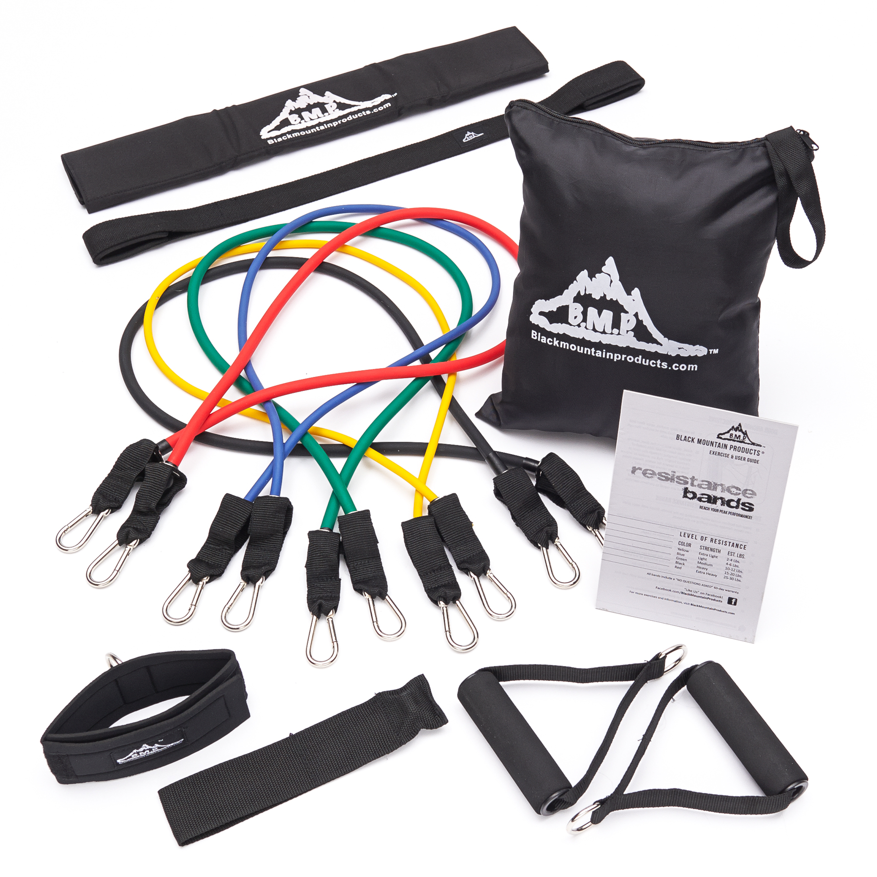 Stackable Resistance Band Set Of 5 With Accessory Kit Black Mountain Products